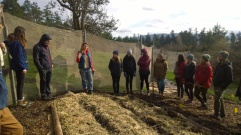 Permaculture practitioner Solara Goldwynn, a UVic Environmental Studies graduate, gives the students a tour of Wild Edge Farm in North Saanich.